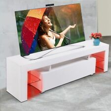 """White 63"""" TV Stand Cabinet Console w/LED Light Shelves for Living Room Storage"""