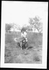 Vintage Photograph 1940'S Boy Big Collie Dog Fort Davis Pecos Texas Old Photo