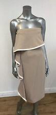 Bandeau Nude Dress Strapless Bodycon Ruffle Frill Hem Size 12 New Look DZ26