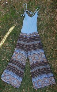 Jaase Jumpsuit hippy boho gypsy comfy relaxed Flare Legs Batik Print 6 8 10 12?