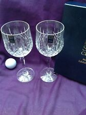 2 Royal Scot Crystal London cut tall large Wine Glass 20.5cm new boxed Pair