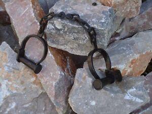 Vintage Black Iron hand cuffs Long Link + Key / Handcuffs / Shackles film Prop