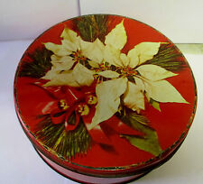 VINTAGE CHRISTMAS FLOWER BISCUIT TIN ATLANTIC CAN CO DELAWANNA N J HOME DECOR
