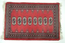 Bokhara Prayer Rug: 3x2 Vintage Handmade Oriental Red Cotton Carpet