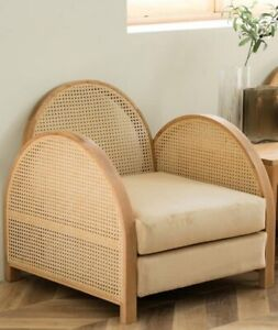 Nordic wind rattan single sofa living room solid wood chair
