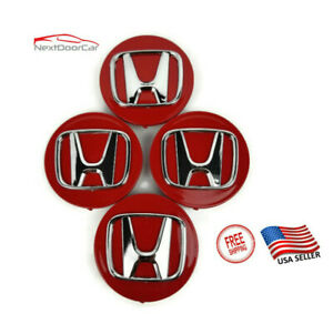 "NEW set 4 wheel rim center cap logo 2.75"" 69mm Civic Accord CRV Red for Honda"