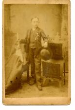 Young Man-Boy-Hat-Candle-Studio Prop-Full Length Vintage Cabinet Photograph