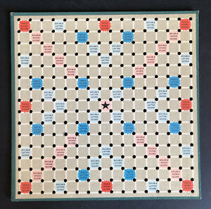 TRAVEL SCRABBLE SPARE/REPLACEMENT PERFORATED PLAYING BOARD 1958 ? Mini Peg Holes