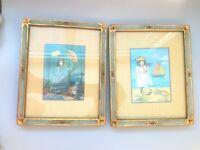 2 VINTAGE SOIRCHER MARIN ART FRAMES GOLD COLOR BLUE FLOWERS GORGEOUS HANDMADE