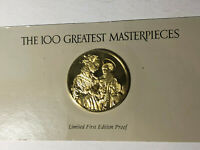 Franklin Mint Madonna and Child with Angels 24k Gold Sterling Silver Medal Seal