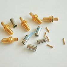 10X SMA female plug pin bulkhead crimp for RG58 RG142 LMR195 RF Coax Connector