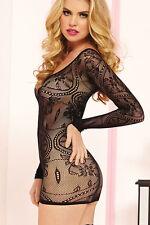 Mini robe noire érotique très sexy transparente résille libertine NUISETTE GLAM
