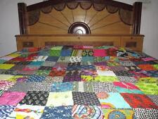 Indian Kantha Queen Quilt Handmade Patchwork Reversible Bedspread Blanket Throw~