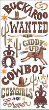 BUCKAROO WILD WEST Jumbo Sticker Sheet scrapbooking COWBOY COWGIRL
