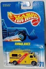 Hot Wheels Ambulance Yellow - Black Windows Sp7's - Collector #71 Malaysia 1997