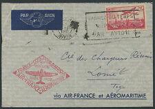 Lettre 1er vol 1937 FRANCE avec PA N°11 Paris Lomé (TOGO), first flight cover