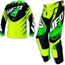 XL-34 Completo Maglia + Pantaloni UFO Mx Voltage Giallo Fluo Nero Cross Enduro