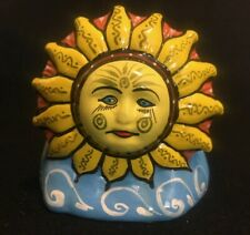 Ceramic hand painted sun and moon holder for mail, notes, napkins, bills