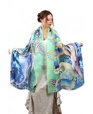 Fair Swans Hand-Painted Scarf, Shawl or Wrap, 100% Cotton