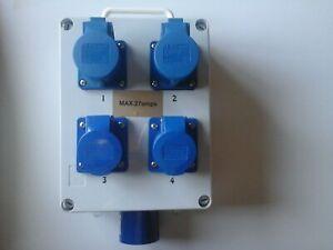 32amp to 4 x 16amp sockets C/W 20amp breakers gewiss IP67 distribution box