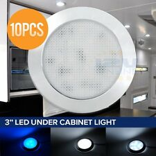 "10 LED 12V 3"" Dome Ceiling Light RV Cargo Trailer AUTO Boat Roof Cabin CW Blue"