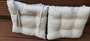 2 Calico beige seat pads with ties 45x45cm