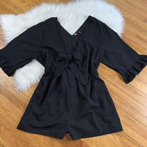 ASOS NWT Women's 16 Black Linen Ruffle Sleeve V-Neck Front Tie Shorts Romper