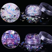 2Boxes Fluorescent Nail Flakes Glass Paper Irregular Paillette Glitter Sequins