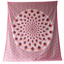 Couverture indienne Tenture Plume de Paon rose 230x210 cm