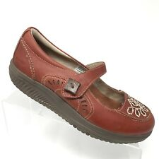 Skechers Shape Ups Mary Jane Rust Leather Embroidered Toning Shoe Womens SIZE 8