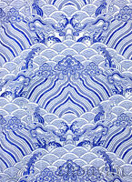 "1/2 YD. 28"" CHINA EMPEROR ROBE DAMASK BROCADE FABRIC:  BLUE OCEAN SILVER WEAVE ="