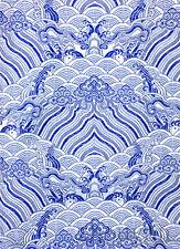 "1/2 YD. 28"" CHINA EMPEROR ROBE DAMASK BROCADE FABRIC:  BLUE OCEAN SILVER WEAVE"