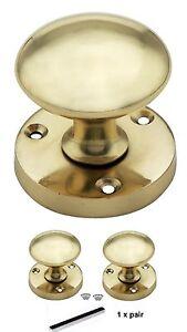 Brass Finish Mortice Door Knobs on Round Rose Set Sold as Pairs Door Handles