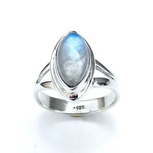 925 Sterling Silver Natural Rainbow moonstone Gemstone Ring choose a Size-EB2159