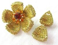 VINTAGE WEISS PIN BROOCH AND CLIP-ON EARRINGS PAVE YELLOW  RHINESTONES STUNNING