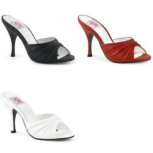 PINUP COUTURE Monroe-01 Red Black White Retro Pin Up Dress Slides Mules Heels
