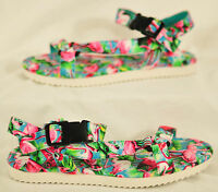 women's SO sandals size 8 buckle ankle strap multi-color sole cushioned