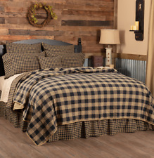 BLACK BUFFALO CHECK Cal King QUILT : COTTON LODGE CABIN TAN PLAID COVERLET
