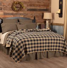 Black Buffalo Check King Quilt : Cotton Western Lodge Cabin Tan Plaid Coverlet
