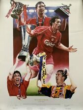 More details for signed robbie fowler liverpool three steps to heaven autograph print