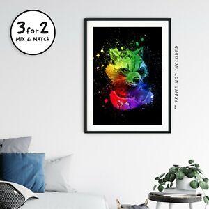 Rocket Raccoon Poster, Giclee Wall Art Prints, Guardians of the Galaxy Fan Art