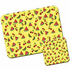 Summer Fruits - Cherries & Watermelon Mouse Mat / Pad and Coaster Set