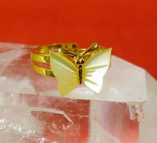 Vintage Mother of Pearl Carved Butterfly 14k Gold Plate Adjustable Size Ring T8