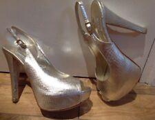 Ladies Albano Gold Snake Skin Slingback Women Shoes  Size 38  Uk 5