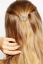 Half Moon Hair Clip Pin, Golden Tone, Geometric, Metal Crescent Moon Barrette