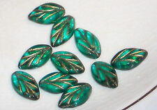 Vintage Leaf Beads Leaves Czech Glass Pressed Rare Drops Emerald NOS #1202