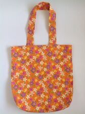 Ladies Orange Retro Cotton Eco Floral Shopping tote School Library Or Casual Bag