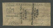 ENGLAND Hereford Bank  £1 1823 Garretts  English Provincial Banknotes