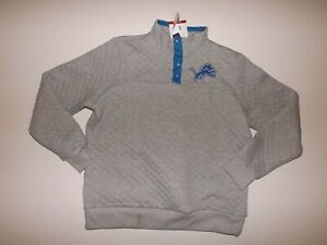 NFL Detroit Lions Gray 1/4 Button Pullover XL X-Large Sweater Womens NWT