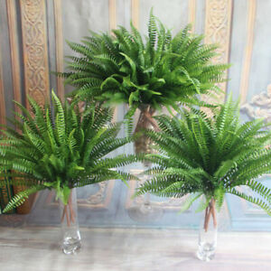 Large Plastic Lifelike Artificial Fern Foliage Bush Plant Indoor Outdoor #SO